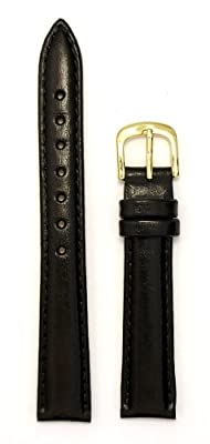 Ladies' Genuine Italian Leather Watchband Black 14mm Watch Band