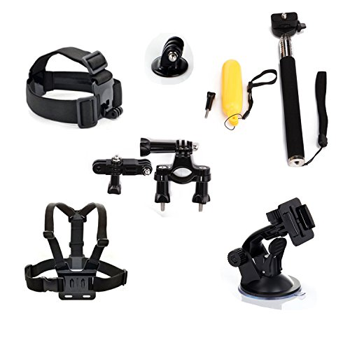 Masionetm 6-In-1 Accessories Kit For Gopro Hd Hero4 Hero3+/3/2/1 Camera:Head Strap Mount + Chest Belt/Strap Harness Mount + Telescoping Extension Pole Monopod + Floating Handle Grip Pole + Motorcycle Bike Handlebar Seatpost Pole Mount + Gopro Suction Cup front-124831