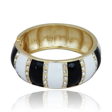 MizEllieCostume Jewellery Elegantly Edgy Black and White Diamante Bangle Bracelet ,Can Make An Ideal Gift With Free Elegant Organza Jewellery Pouch