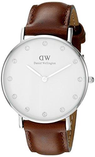 Orologio-Donna-Quarzo-Daniel-Wellington-display-Analogico-cinturino-Tessuto-Marrone-e-quadrante-Bianco-0960DW