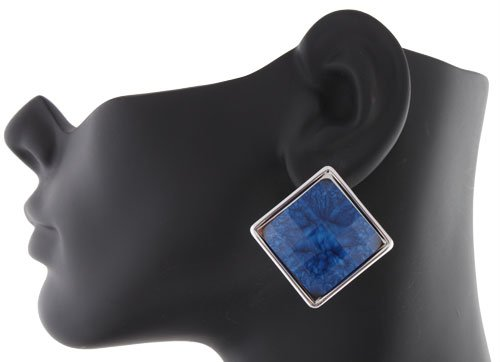 Ladies Silver Square Disc with Blue Marble Style Clip on Earrings