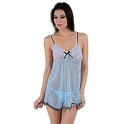 JKFs Women's Bowknot Light Blue Sexy Babydoll
