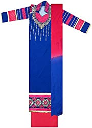 Maria Collection Women's Unstitched Dress Material (Blue and Pink)