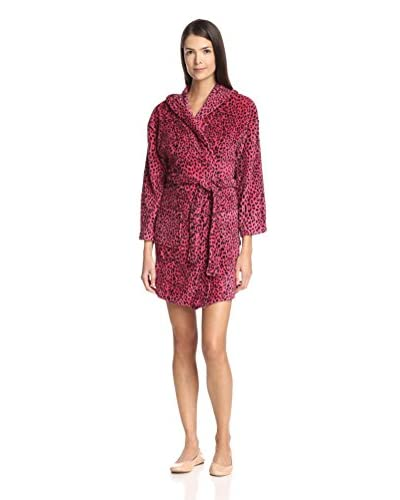 Aegean Apparel Women's Bright Leopard Print Plush Robe with Hood  [Fuchsia]