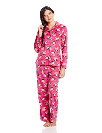 Paul Frank Junior's Winter Sparkle Julius Head PRT Notch Collar Pajama Set, Pink, Small