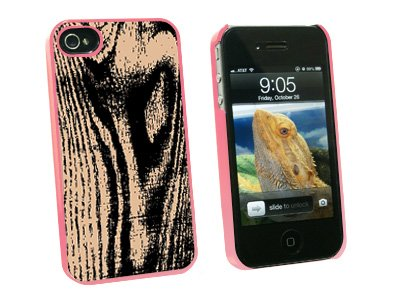 Wood Grain Tan - Snap On Hard Protective Case for Apple iPhone 4 4S - Pink