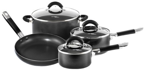 Hamilton Beach 92111 Nonstick Contempo 7 Piece Cookware Set, Black