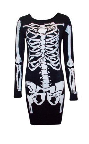 womens-scheletro-bone-midi-da-donna-halloween-scary-notte-a-maniche-lunghe-vestito-black-s-m