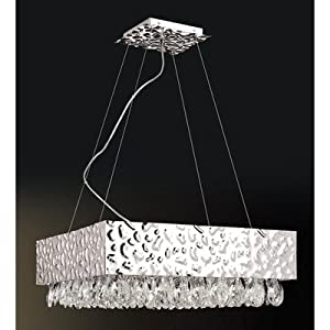 Martellato Twelve Light Pendant in Chrome Shade: Pink