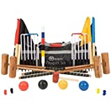 """Pro Croquet Set with Nylon Bag - Contains 2 sizes of mallet; 2 x 34"""" and 2 x 38."""" The set also includes 4 composite balls, 6 steel hoops, a hoop smasher, markers, clips, corner flags and a hardwood centre peg. All in a nylon transport / storage bag."""