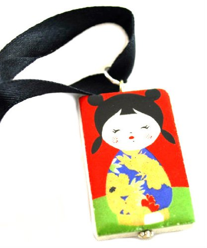 ZAD Photo Print Japanese Girl Ceramic Pendant Necklace on Black Ribbon