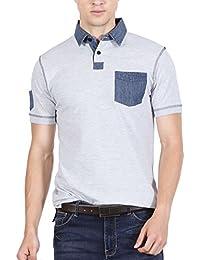 Fanideaz Branded Men's Denim Collar Premium Polo T Shirt With Denim Pocket