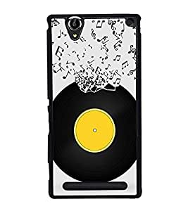 Music Record 2D Hard Polycarbonate Designer Back Case Cover for Sony Xperia T2 Ultra :: Sony Xperia T2 Ultra Dual SIM D5322 :: Sony Xperia T2 Ultra XM50h