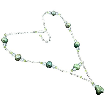 925 Sterling Silver Artisan South Sea Pearl White Topaz Peridot Gemstone Beads Strand Necklace Size 19 Inches