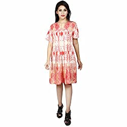 LALANA Multicolor Abstract Print Polyester A-Line Dress