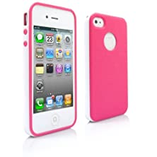 buy Iphone 4S Case, Magicmobile® New Deluxe 2-Piece Cute Style Ultra Slim White Bumper Frame With Smooth Flexible Tpu Cover Color: Rose Pink + Screen Protector, Stylus/Pen And Charm