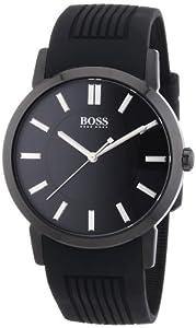 Hugo Boss - 1512954 - Slim Ultra Modern - Montre Homme - Quartz Analogique - Cadran Noir - Bracelet Silicone Noir