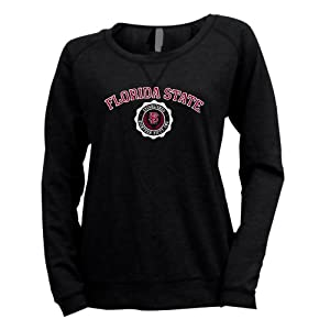 NCAA Florida State Seminoles Ladies Striped Baby French Terry Crew Sweatshirt by Ouray Sportswear