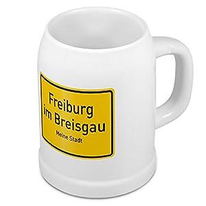 Bierkrug mit Stadtnamen Freiburg im Breisgau - Design Ortschild - Städte-Tasse, Becher, Maßkrug