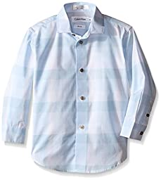Calvin Klein Dress Up Little Boys\' Breeze Plaid Long Sleeveshirt, Light Blue, 4