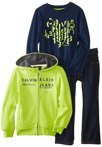 Calvin Klein Little Boys' Hooded Jacket with Navy Tee and Pants
