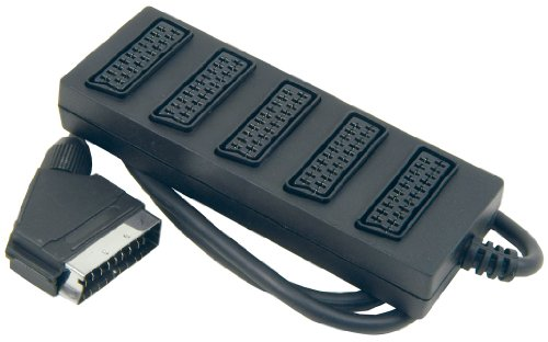 MHP® 5 Way Trailing SCART Socket – 1 Male to 5 Female – Five Gang SCART Splitter