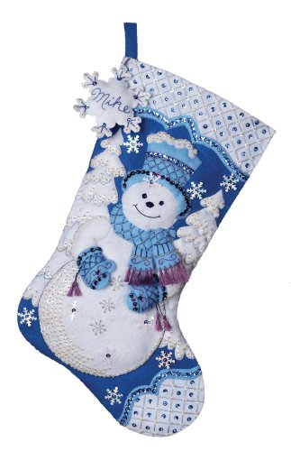 Bucilla 18-Inches Christmas Stocking Felt Appliqué Kit, 86059 Snowflake Snowman