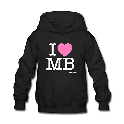 Spreadshirt Kids' Mattyb - I Heart Mb Hoodie, Black, S