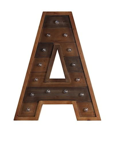 """A"" LED Wooden Letter Board, Brown"
