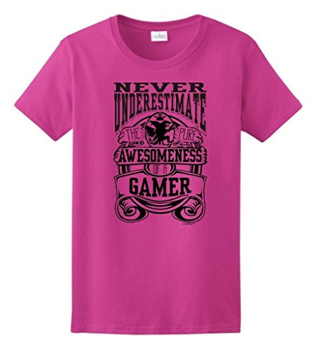 Never Underestimate Awesome Gamer, Awesomeness Game Ladies T-Shirt Medium Heliconia