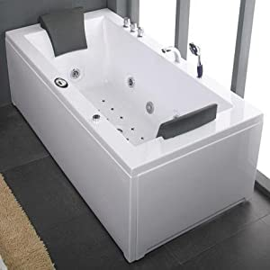 alaska 6 foot double ended whirlpool bath luxury inset 22 spa jets