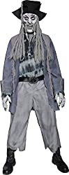 Smiffy's Men's Zombie Ghost Pirate Costume Top Trousers Hat with Dreadlocks Mask and Gloves, Grey, Medium