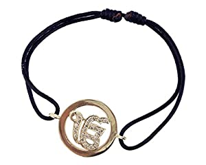 Ik Onkaar Inside Diamond 14K Gold Bracelet on Adjustable Nylon Thread