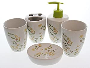 justnile 5 piece floral ceramic bathroom