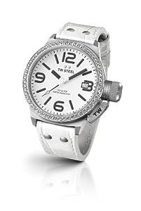 TW Steel TW35 - Reloj analógico de cuarzo unisex con correa de piel, color blanco
