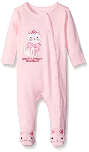 The Children's Place Girls' Cat Theme Sleep and Play Romper, Shell, 3-6 Months