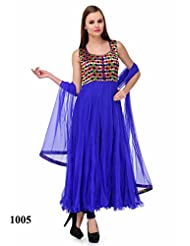 Sonal Trendz Blue Color Embroidered Anarkali Party Wear Suit