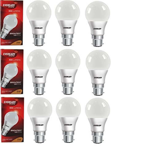 3W Cool Day Light LED Bulb (Pack of 9)