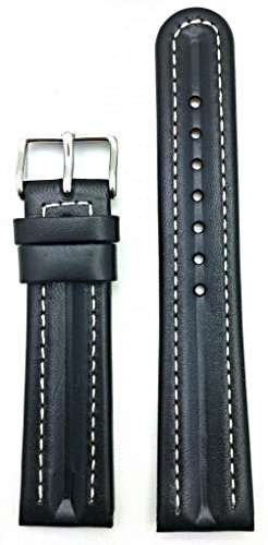 20Mm Semi-Oil Black Leather, White Stitches, Nicely Contour Around Your Wrist With Style