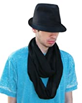 Infinity Scarf - Black Knit Semi Sheer Designer Circle Scarves for Women or Men