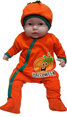 Baby First Halloween Outfit for Infants With Pumpkin Smiling Face by TenTeeTo (0-3 Months)