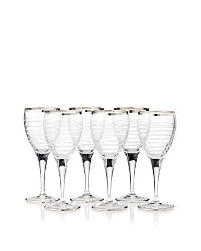 A Casa K Totem Set of 6 Hand Cut Crystal & Platinum 7.5-Oz. Goblets