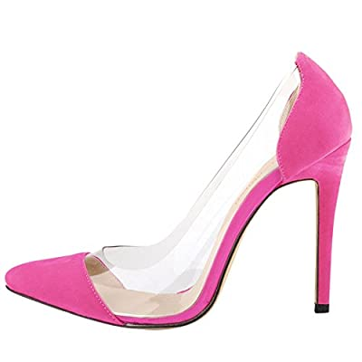 OCHENTA Ladies Womes Transparent Stiletto Heel Dress Pumps