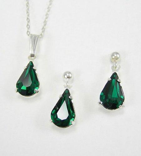 Lj Designs Diamante Emerald Tear Drop Set - Silver Finish - Swarovski Crystal