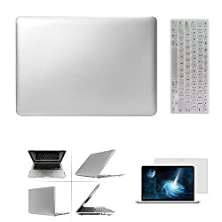 IC ICLOVER Silver 3-in1-1 Ultra Slim Thin Light Weight Top-Case Frosted See-Thru Clip Laptop Rubberized Rubber Coated Flip Snap-on Matte Hard Shell Skin Cover Case Silicone Thin Protective Keyboard Cover High Clear Screen Protector For Apple MacBook Pro Retina 15-inch 15.4 with Retina Displsy