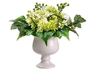 "14"" Hydrangea/Snowball/Berry in Ceramic Pot Green Cream (Pack of 2)"