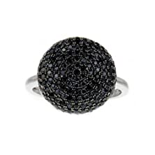 buy Sterling Silver Micro Pave Set Black Cubic Zirconia Round Shape Women'S Cluster Engagement Ring Spj