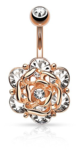 Flower Head with Gems CZ 316L 14GA Navel Belly Ring - Choose Silver Tone, Gold Tone, or Rose Gold Tone (Rose Gold Tone) (Cz Flower Ring compare prices)