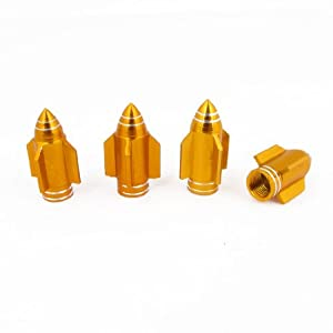 4 x Copper Tone Airplane Shaped Tyre Tire Valve Caps Cover for Car