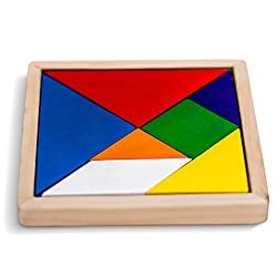 Wooden Tangram Puzzle Game, Rainbow Colored, 5.5 Inches